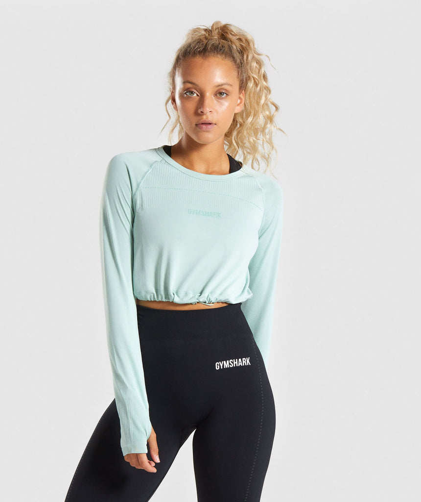 Gymshark Lightweight Seamless Long Sleeve Crop Top - Light Green 1
