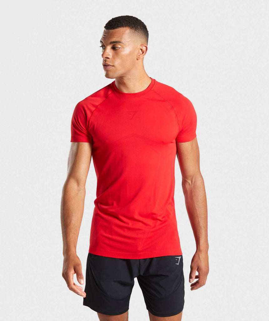 Gymshark Lightweight Seamless T-Shirt - Red 1