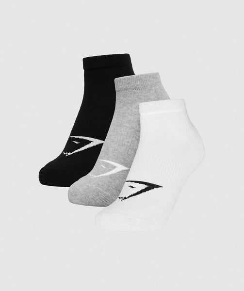 Gymshark Mens Trainer Socks (3pk) - White/Grey Marl/Black 4