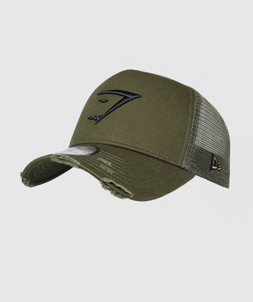 Gymshark New Era Distressed Trucker - Green 1