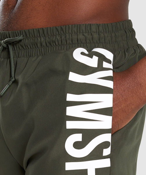 Gymshark Oversized Logo Board Shorts - Green 4