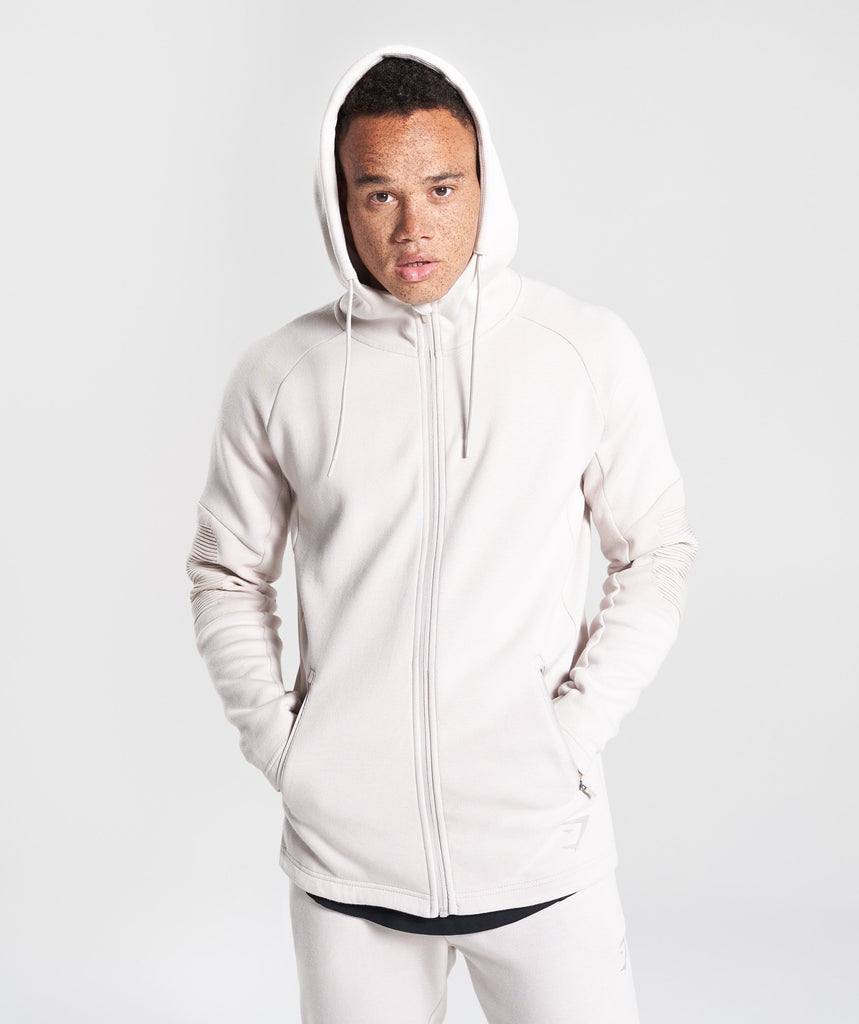 Gymshark Ozone Zip Up Hoodie - Washed Beige 1