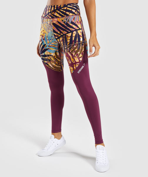 Gymshark Paradise Leggings - Dark Ruby 4