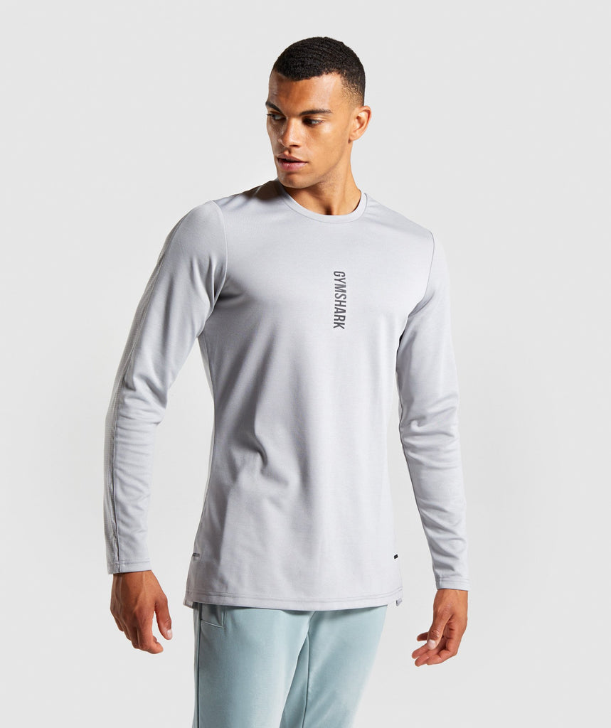 Gymshark Raid Long Sleeve T-Shirt - Light Grey 1