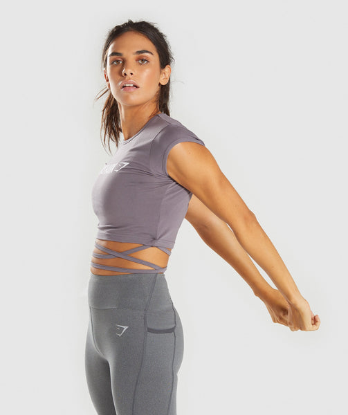 Gymshark Ribbon Capped Sleeve Crop Top - Slate Lavender 2