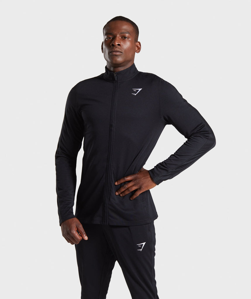 Gymshark React Training Track Top - Black 1