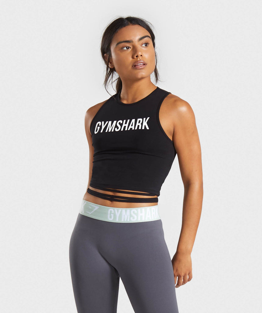 Gymshark Ribbon Crop Top - Black 1