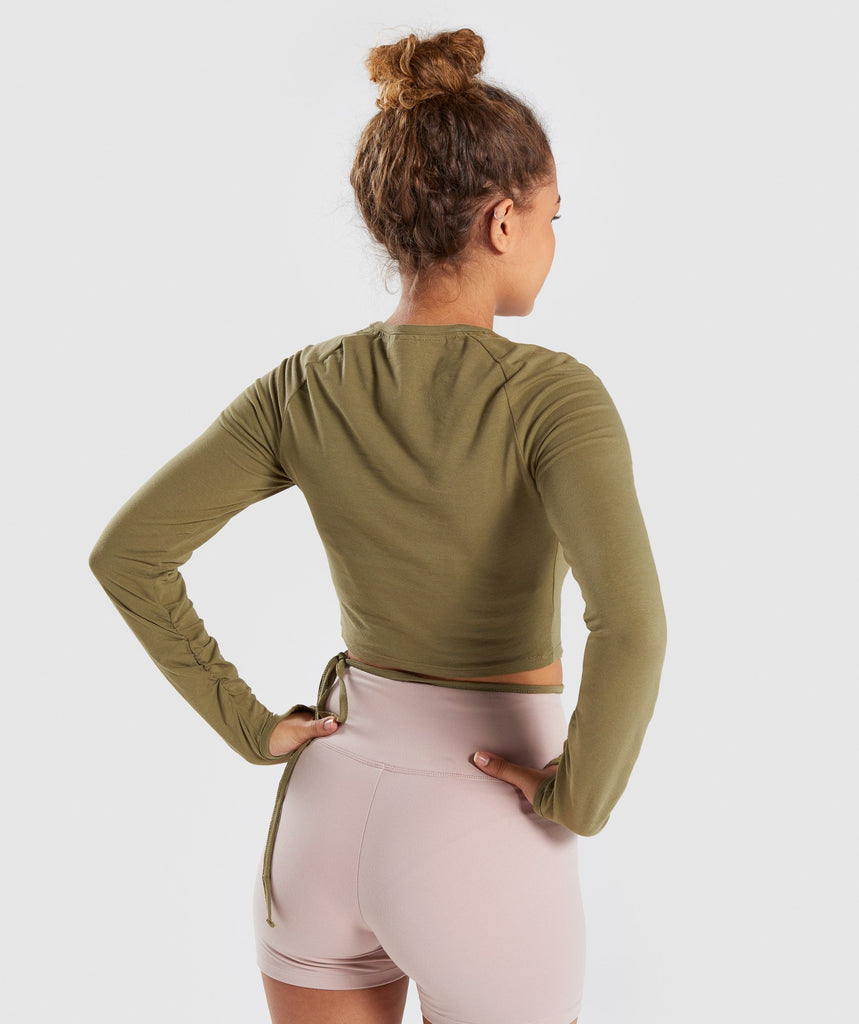 Gymshark Long Sleeve Ribbon Crop Top - Khaki 2