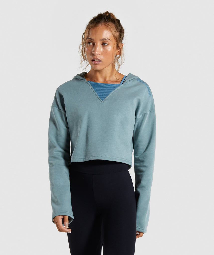 Gymshark Solo Cropped Hoodie - Turquoise 1
