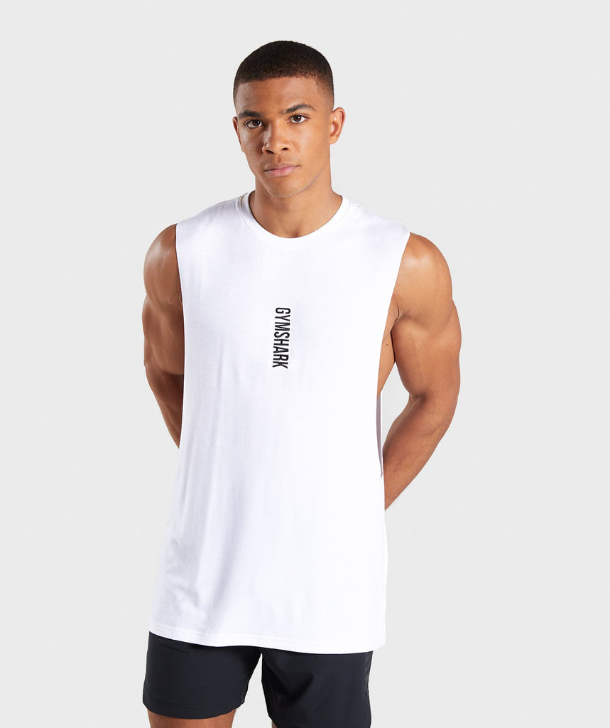 Gymshark Shadow Drop Armhole Tank - White 1