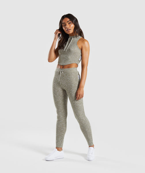 Gymshark Slounge Leggings - Washed Khaki Marl 4