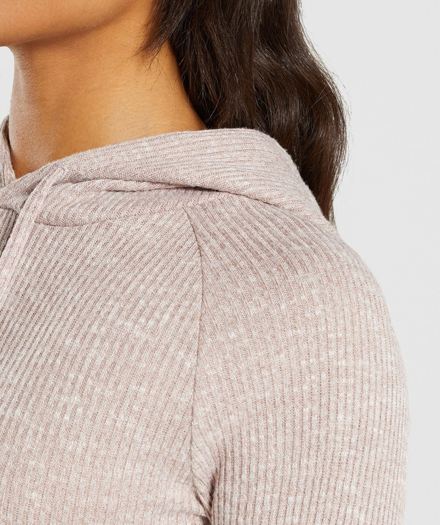 Gymshark Slounge Cropped Hoodie - Taupe Marl 5