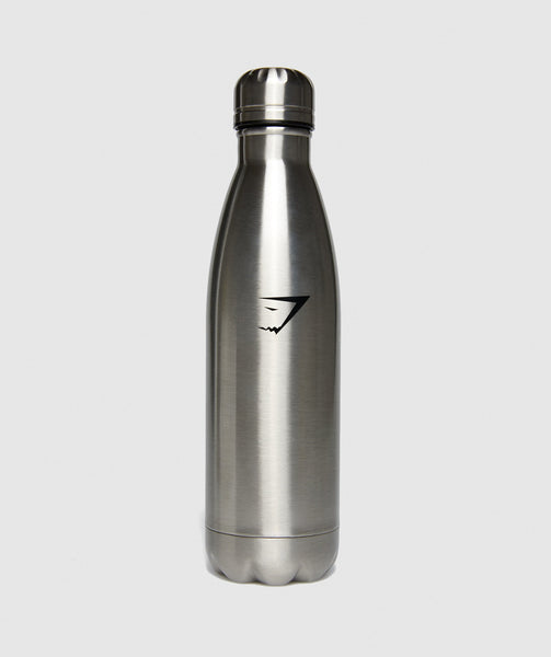 Gymshark Metal Water Bottle - Gun Metal SIlver 4