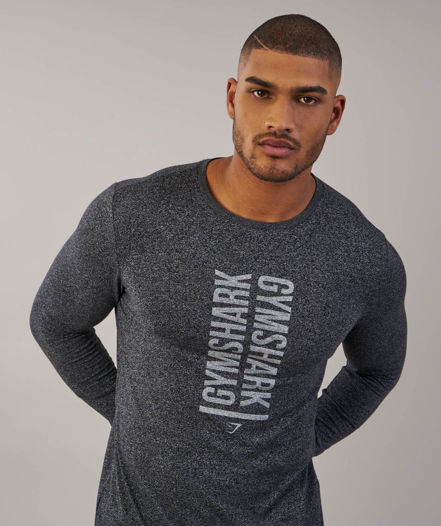 Gymshark Statement Long Sleeve T-Shirt - Black Marl 2