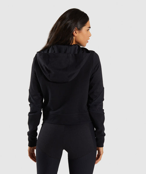 Gymshark True Texture Hooded Bomber Jacket - Black 1