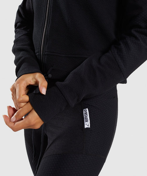 Gymshark True Texture Hooded Bomber Jacket - Black 4