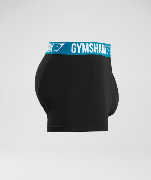 Gymshark Mens Trunks 2pk - Black/Deep Teal 2