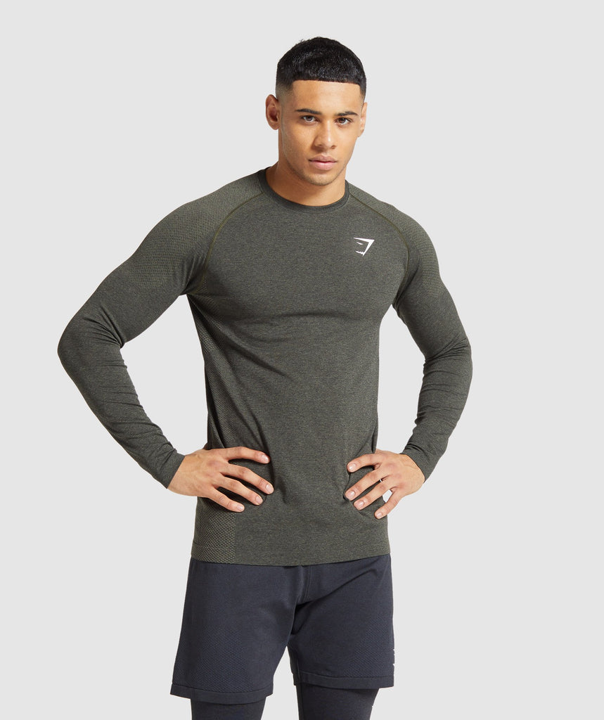 Gymshark Vital Seamless Long Sleeve T-Shirt - Dark Green Marl 1