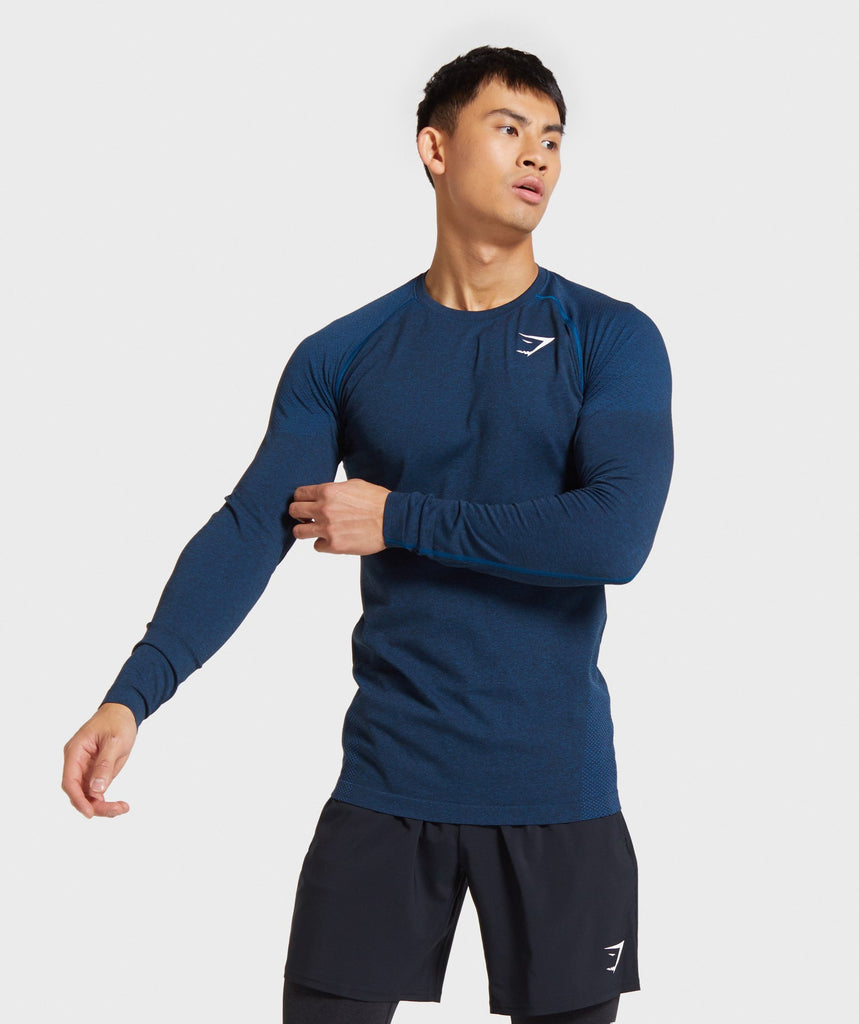 Gymshark Vital Seamless Long Sleeve T-Shirt - Petrol Blue Marl 1