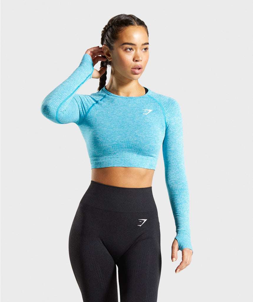 Gymshark Vital Seamless Long Sleeve Crop Top - Blue Marl 1