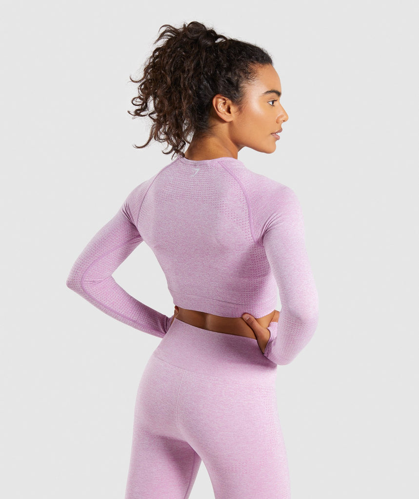 Gymshark Vital Seamless Long Sleeve Crop Top - Pink 2
