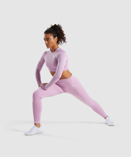 Gymshark Vital Seamless Long Sleeve Crop Top - Pink 3