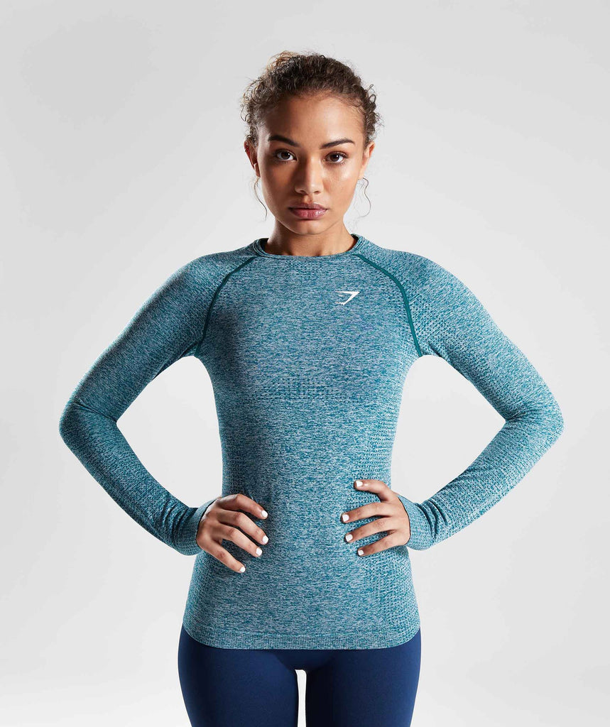 Gymshark Vital Seamless Long Sleeve Top - Deep Teal 1