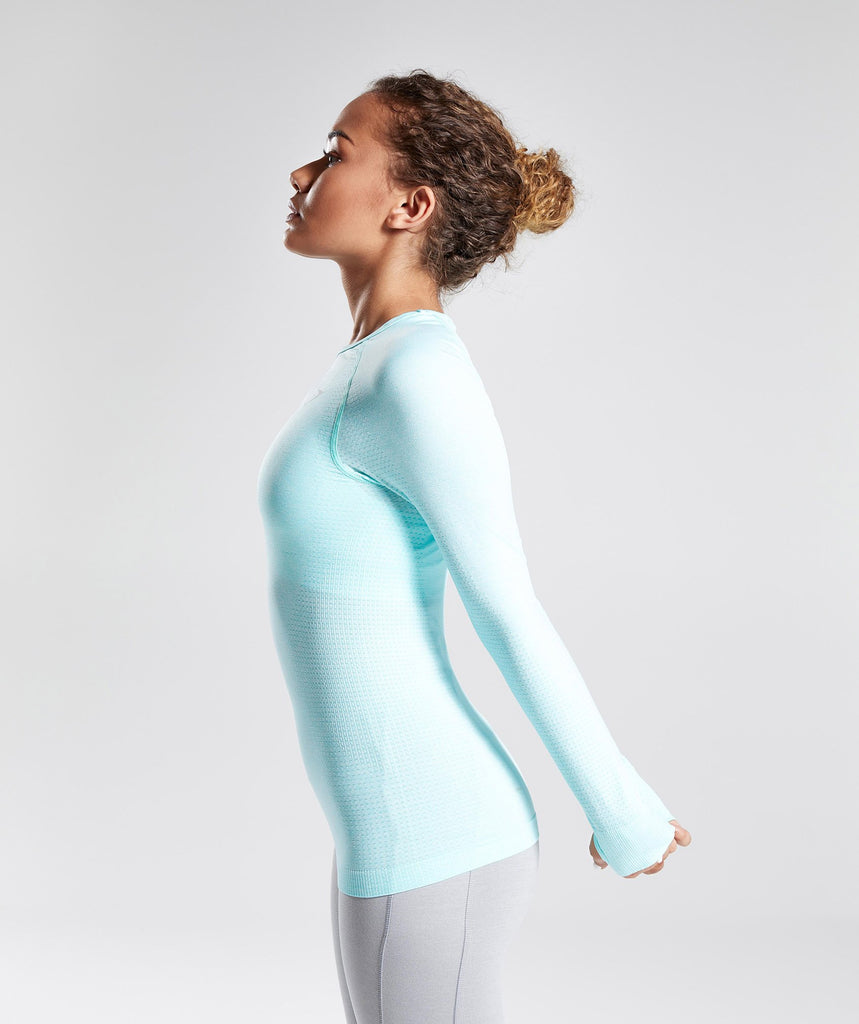Gymshark Vital Seamless Long Sleeve Top - Pale Turquoise Marl 2