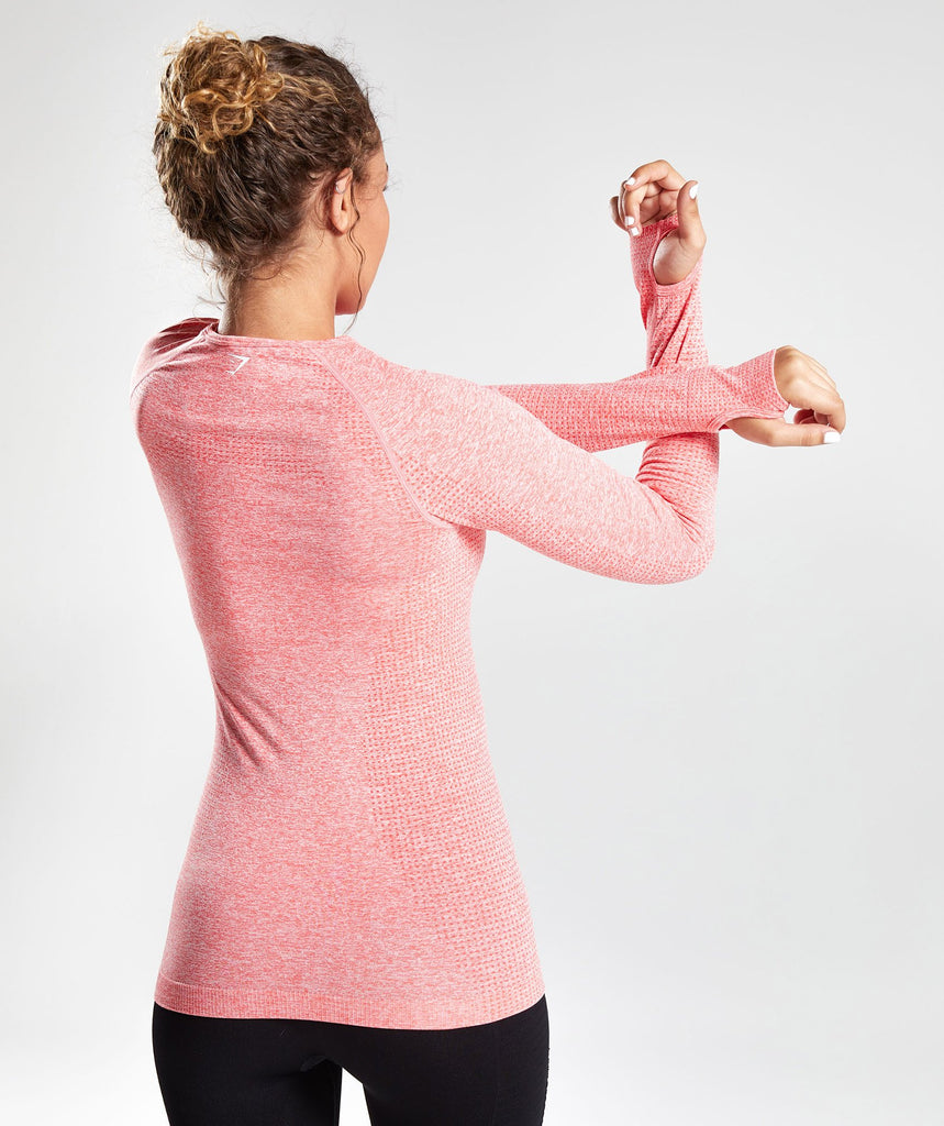 Gymshark Vital Seamless Long Sleeve Top - Peach Coral 1