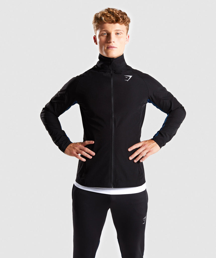 Gymshark Gravity Track Top - Black/Dive Blue 1