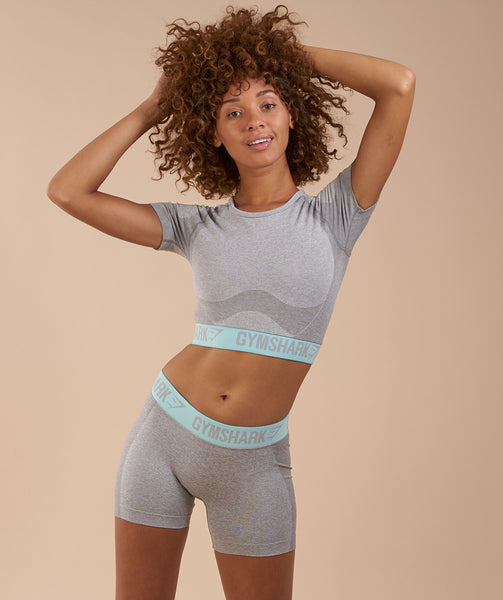 Gymshark Flex Crop Top - Light Grey Marl/Pale Turquoise 2
