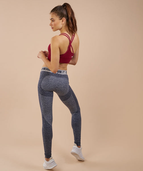 Gymshark Flex Leggings - Sapphire Blue Marl/Light Grey 4