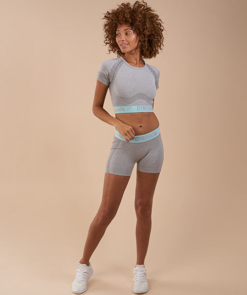 Gymshark Flex Crop Top - Light Grey Marl/Pale Turquoise 3