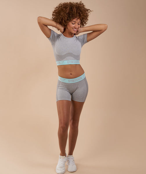 Gymshark Flex Crop Top - Light Grey Marl/Pale Turquoise 4