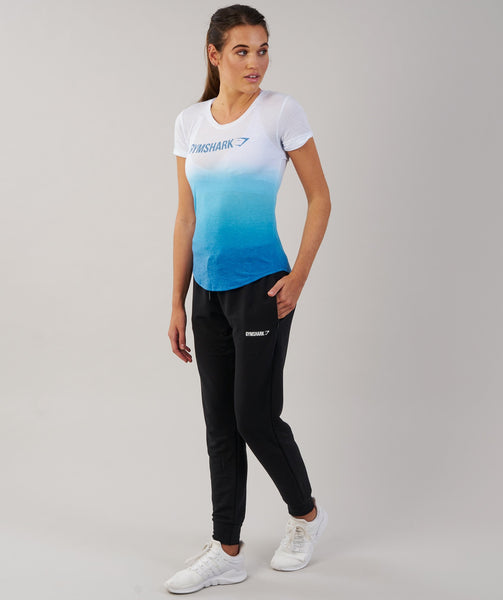Gymshark Ombre T-Shirt - White/Blueberry 3