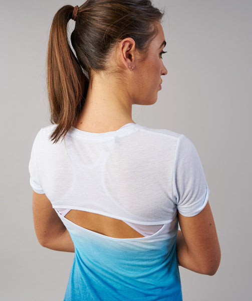 Gymshark Ombre T-Shirt - White/Blueberry 4