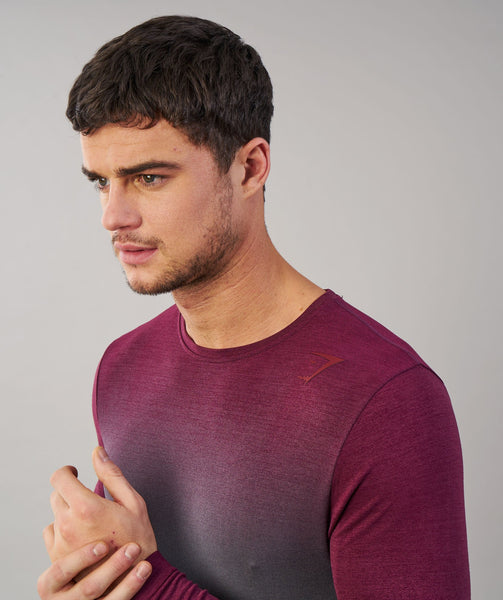 Gymshark Ombre Long Sleeve T-Shirt - Port/Charcoal 3
