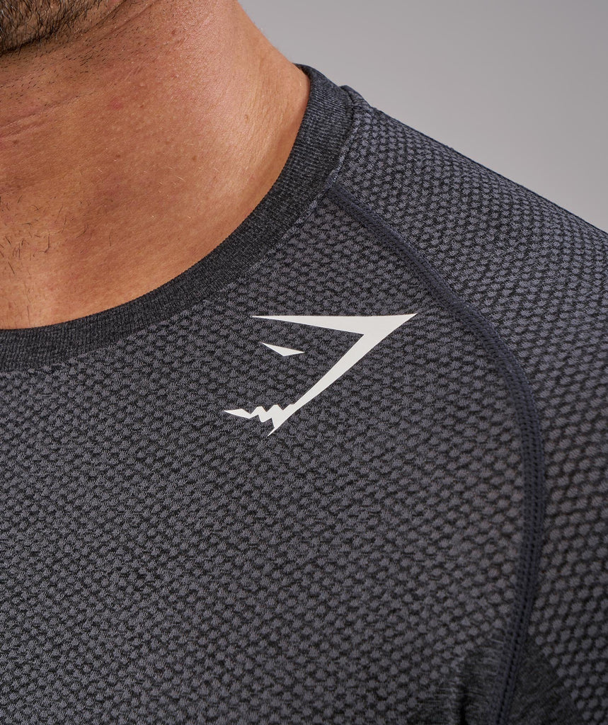 Gymshark Phantom Seamless Long Sleeve T-Shirt - Black Marl 2
