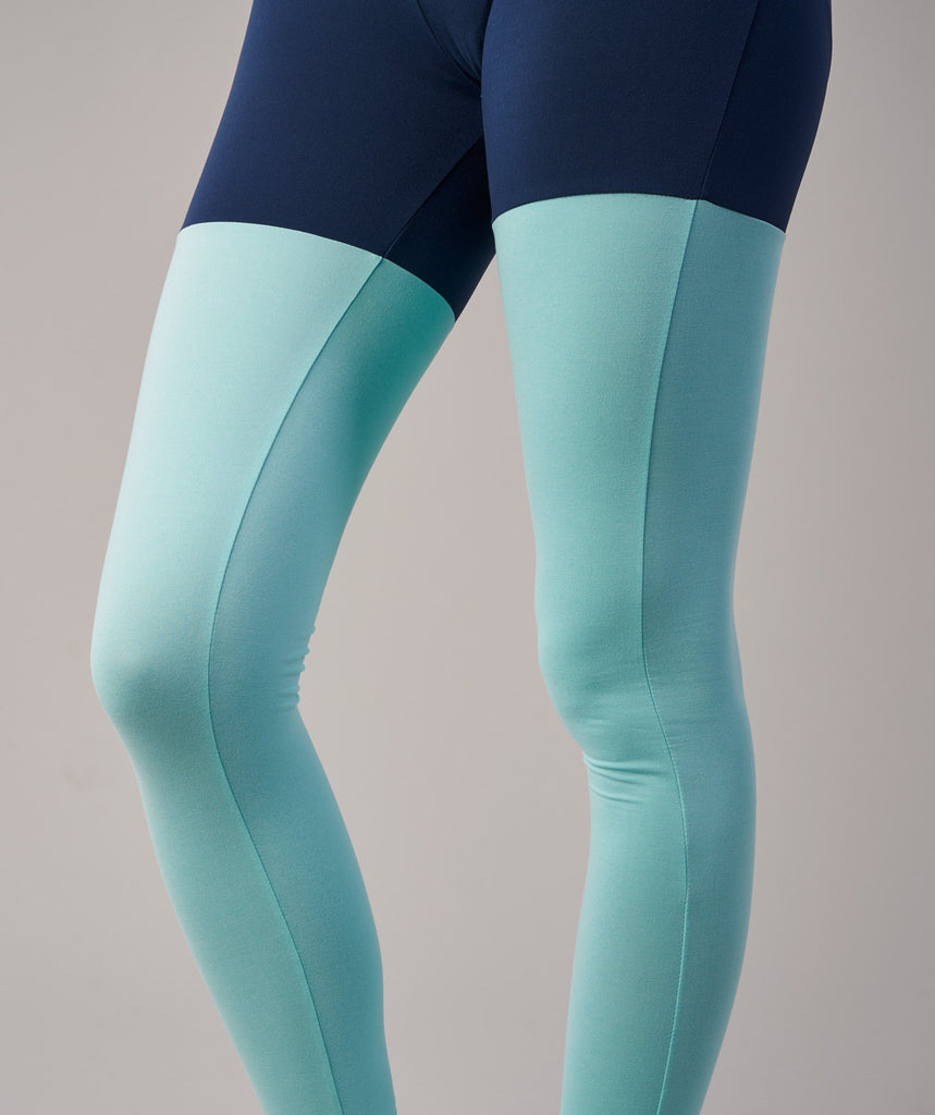 Gymshark TwoTone Leggings - Sapphire Blue Marl/Pale Turquoise Marl 6