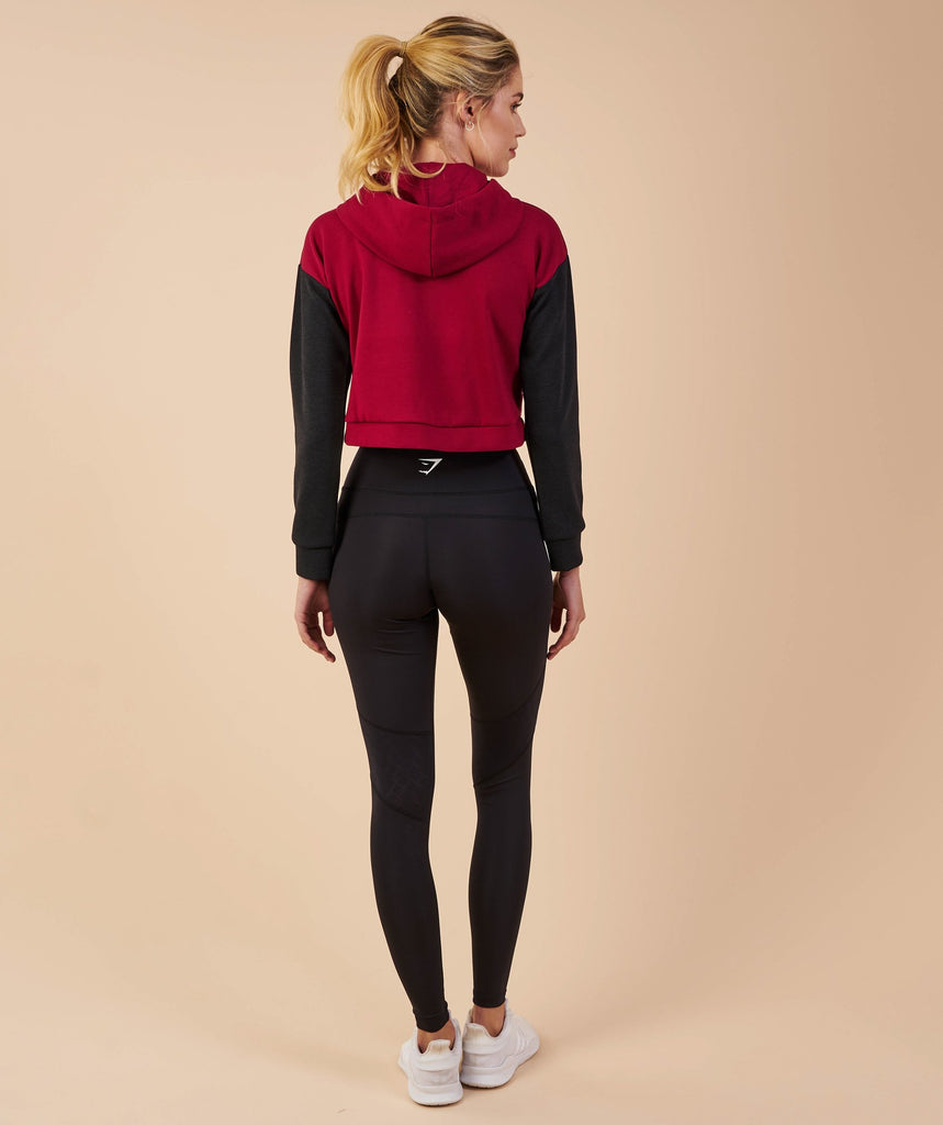 Gymshark Two Tone Cropped Hoodie - Beet/Black Marl 2