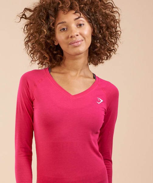 Gymshark Verve Long Sleeve T-Shirt - Cranberry