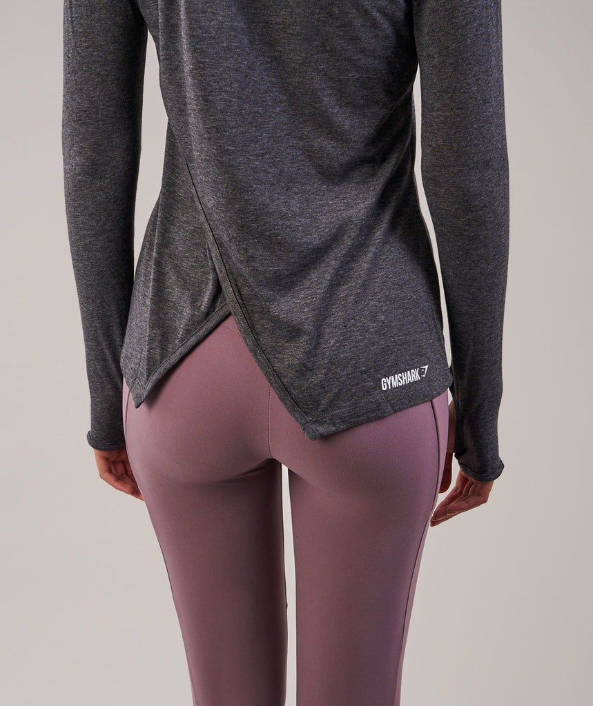 Gymshark Cross Back Long Sleeve Top - Charcoal Marl 6