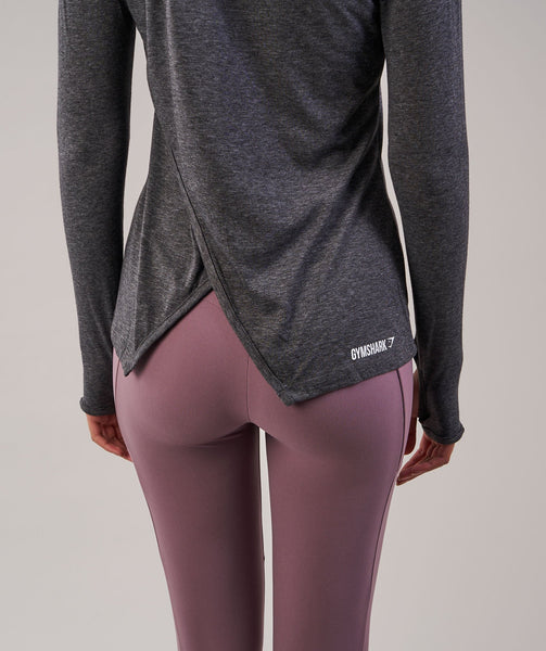 Gymshark Cross Back Long Sleeve Top - Charcoal Marl 4