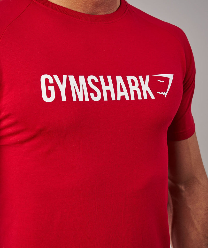 Gymshark Apollo T-Shirt - Deep Red/White 6