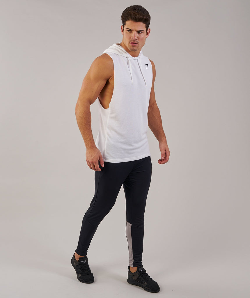 Gymshark Drop Arm Sleeveless Hoodie - White