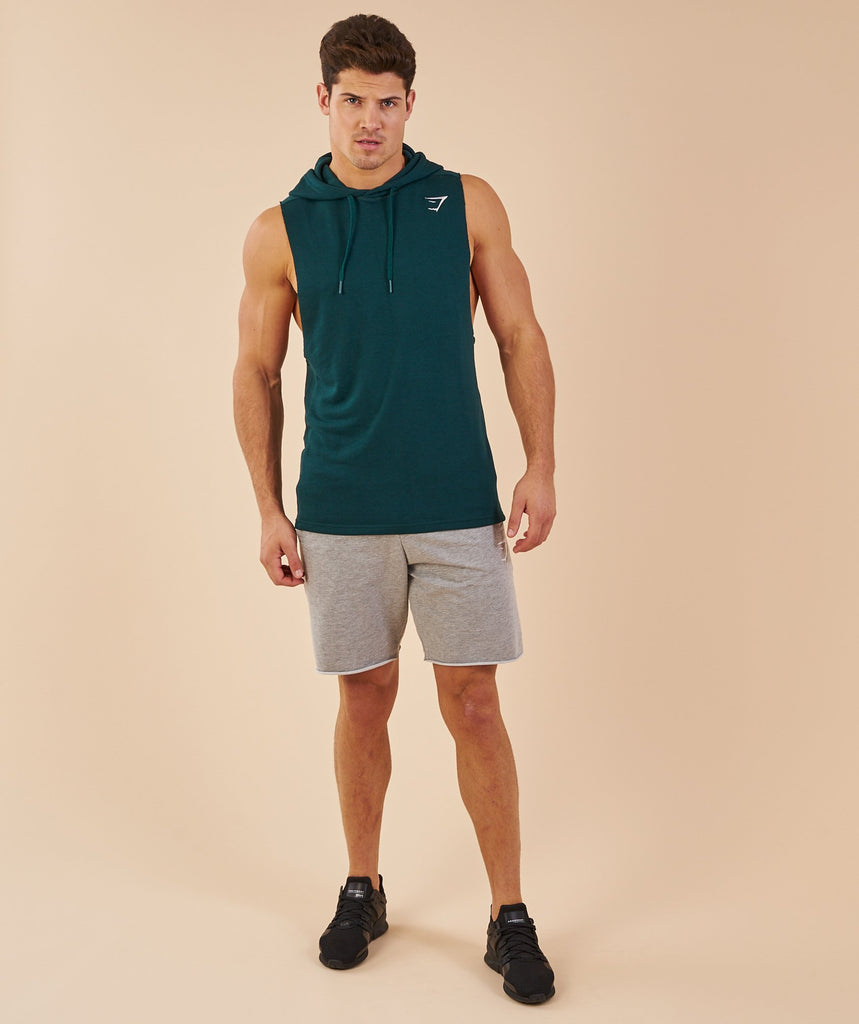 Gymshark Drop Arm Sleeveless Hoodie - Forest Green