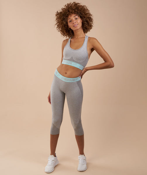 Gymshark Flex Sports Bra - Light Grey Marl/Pale Turquoise 1