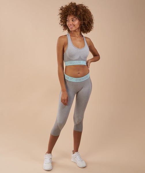Gymshark Flex Sports Bra - Light Grey Marl/Pale Turquoise 3