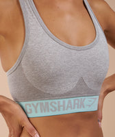 Gymshark Flex Sports Bra - Light Grey Marl/Pale Turquoise 11