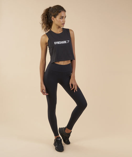 Gymshark Crop Mesh Back Tank - Black 2